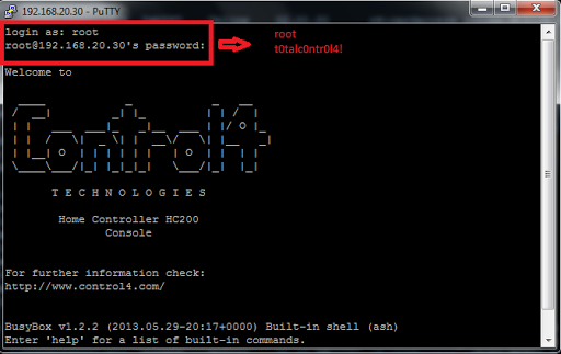 How To access Control4 Through Putty | Nitdroid